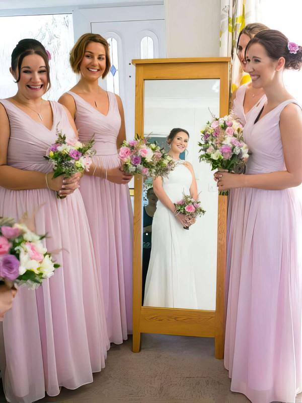 Pink Chiffon Floor-length with Ruffles Nice V-neck Bridesmaid Dress #JCD01012771