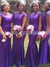Tulle Elastic Woven Satin Sweep Train Beading Short Sleeve Trumpet/Mermaid Bridesmaid Dress #JCD01012780
