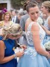 Elegant Tulle Appliques Lace Scoop Neck Tea-length Bridesmaid Dress #JCD01012790