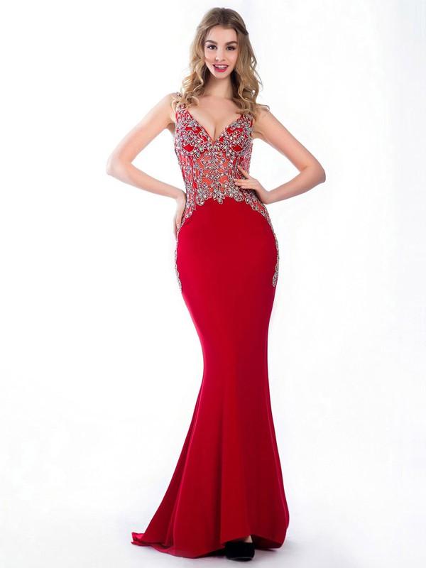 Trumpet/Mermaid Red Tulle Silk-like Satin Beading V-neck Prom Dresses #JCD020102232