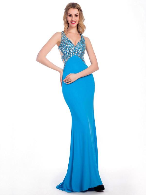 V-neck Chiffon Beading Trumpet/Mermaid Backless Prom Dresses #JCD020102234