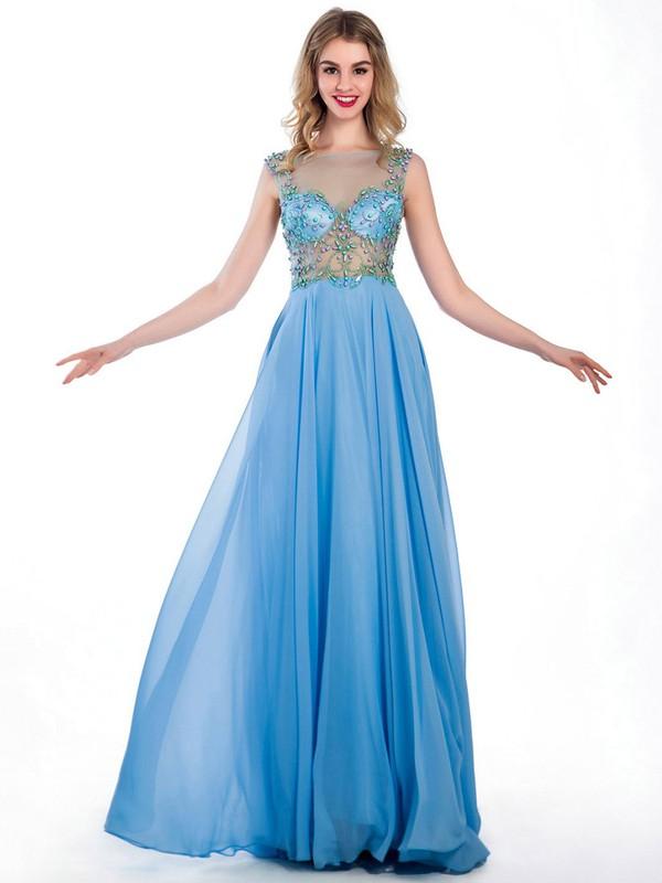 Top Scoop Neck Chiffon Tulle Floor-length Beading Blue Prom Dresses #JCD020102240