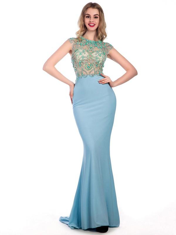 Trumpet/Mermaid Chiffon Tulle Sweep Train Beading Cap Straps Prom Dresses #JCD020102241