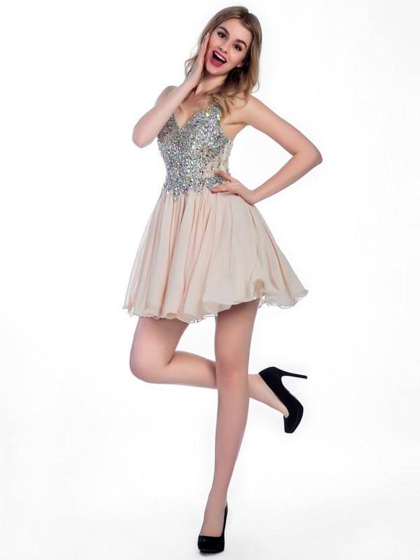 Nice Short/Mini Lace Chiffon Crystal Detailing V-neck Prom Dresses #JCD020102249