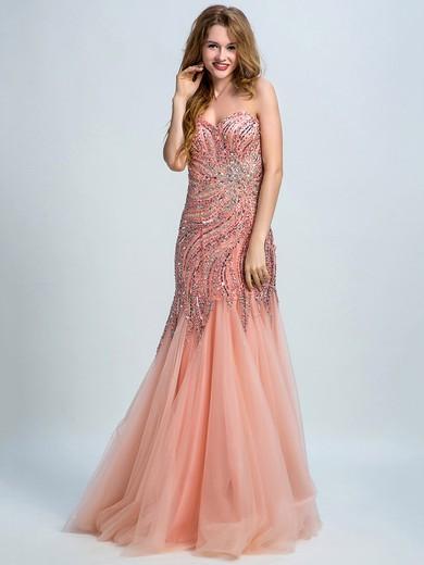 Amazing Trumpet/Mermaid Tulle Beading One Shoulder Prom Dress #JCD020102250