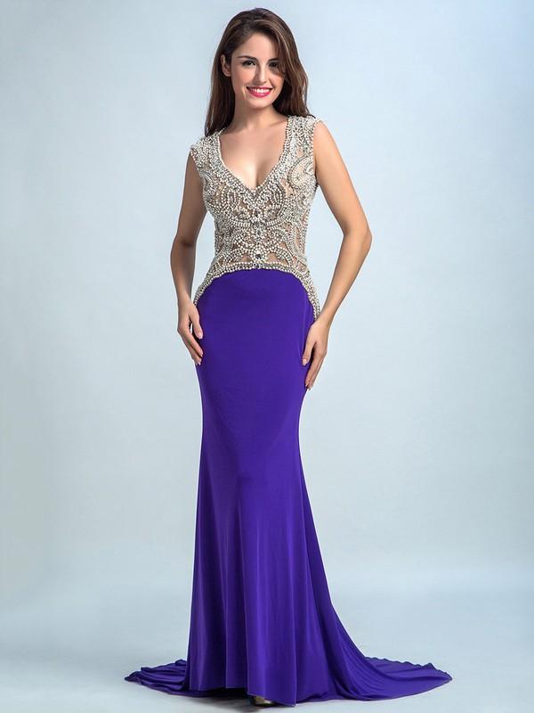 Trumpet/Mermaid Grape Tulle Silk-like Satin Crystal Detailing Backless V-neck Prom Dress #JCD020102259