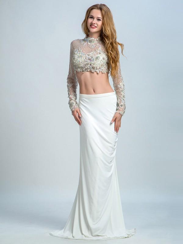 Two-pieces High Neck Chiffon Tulle Beading Sheath/Column Long Sleeve Prom Dress #JCD020102265