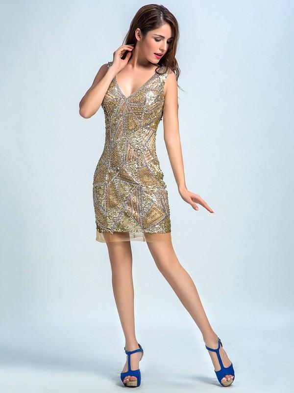 Sparkly Sheath/Column Champagne Tulle Beading Short/Mini Prom Dresses #JCD020102272