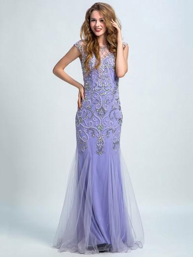 Scoop Neck Lavender Tulle Silk-like Satin Beading Cap Straps Trumpet/Mermaid Prom Dresses #JCD020102275