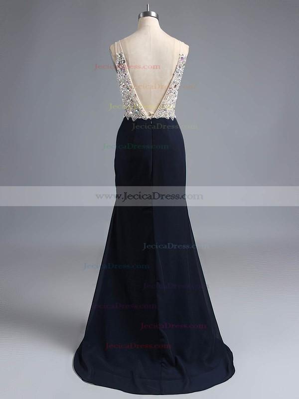 Online V-neck Black Chiffon Split Front Trumpet/Mermaid Prom Dresses #JCD020102277