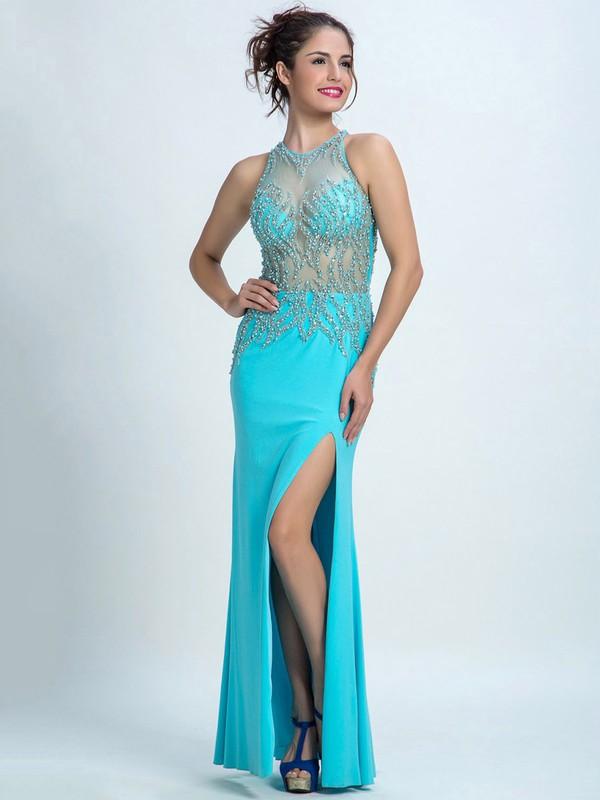 Custom Sheath/Column Tulle Silk-like Beading Satin Ankle-length Prom Dresses #JCD020102280