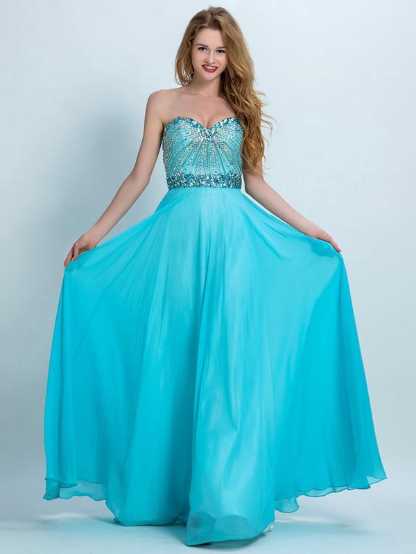 Sweetheart Chiffon Crystal Detailing Floor-length Nice Prom Dresses #JCD020102281