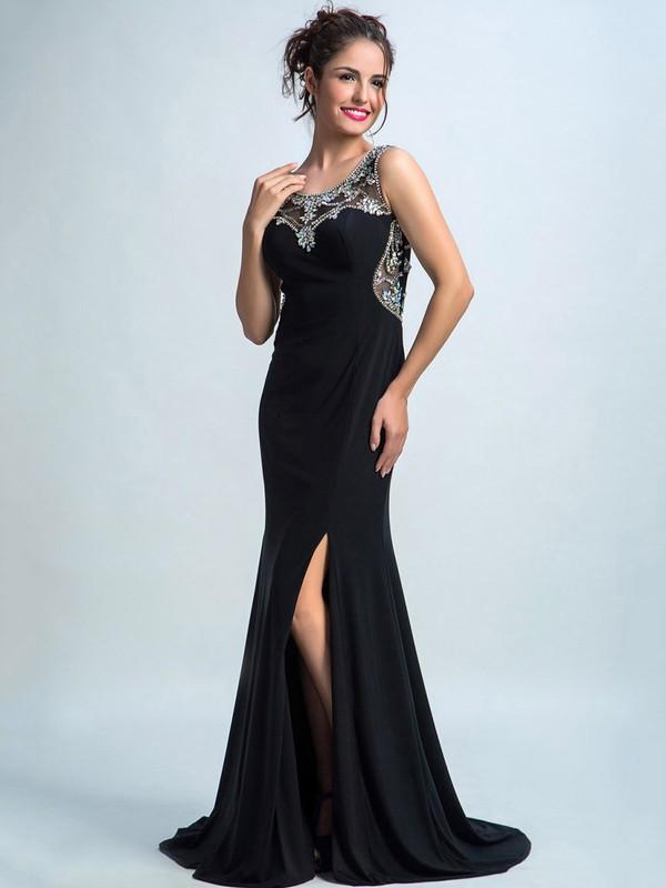 Unique Trumpet/Mermaid Split Front Sweep Train Black Chiffon Tulle Prom Dresses #JCD020102282