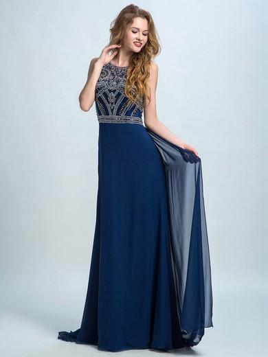 Scoop Neck Chiffon Tulle Beading Sweep Train Designer Prom Dresses #JCD020102283