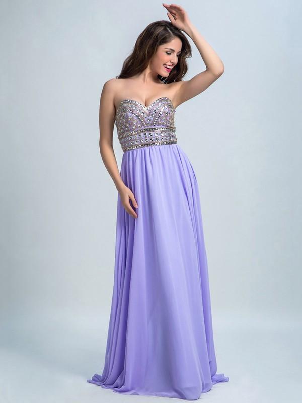 Beautiful Sweetheart Crystal Detailing Sweep Train Lavender Chiffon Prom Dresses #JCD020102287