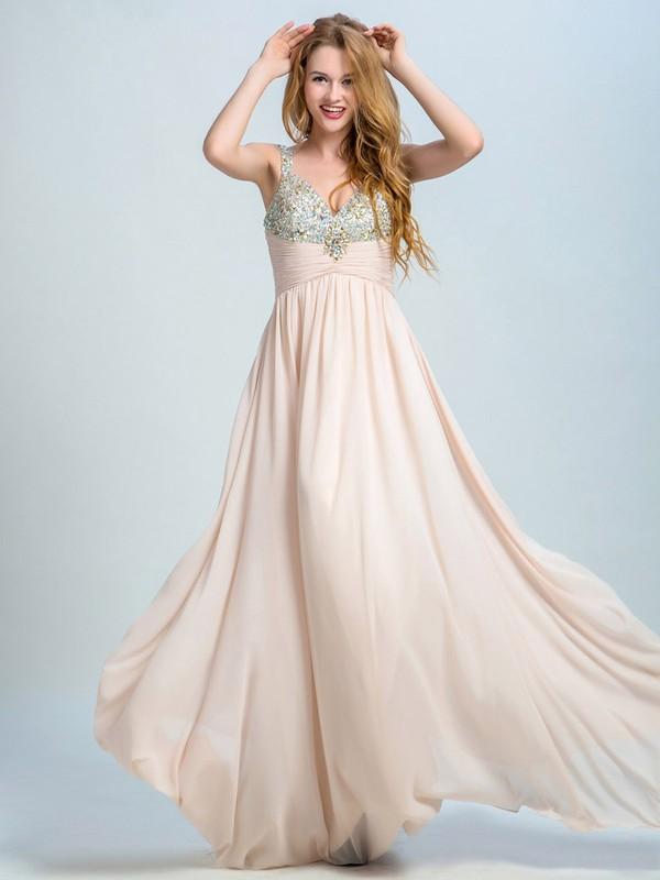 V-neck Chiffon Crystal Detailing Floor-length Nice Prom Dresses #JCD020102295