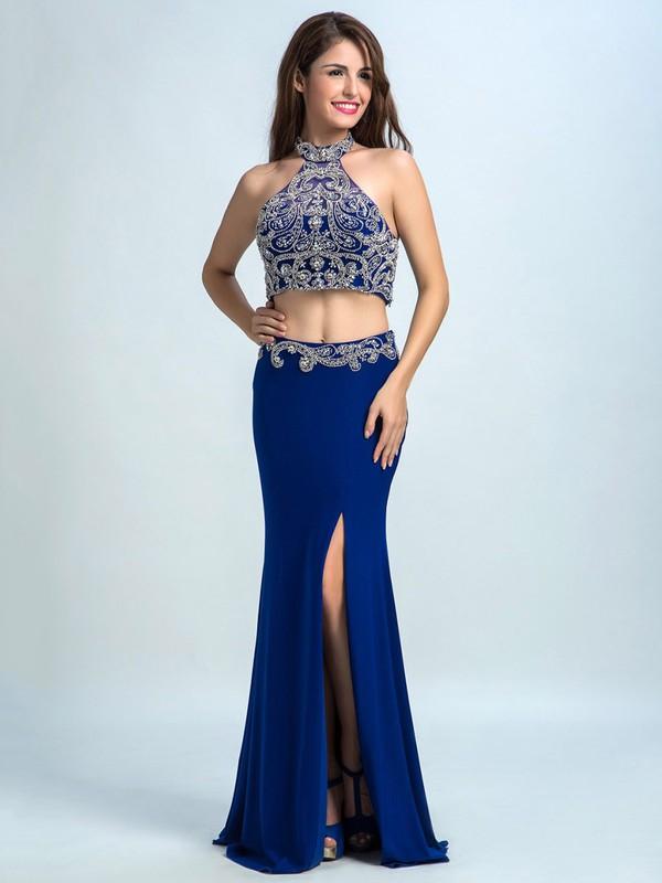 Trumpet/Mermaid Royal Blue Silk-like Satin Beading Two-pieces Halter Prom Dresses #JCD020102296