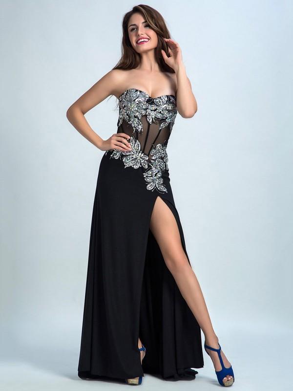 Ladies Sweep Train Black Chiffon Split Front Sweetheart Prom Dresses #JCD020102298