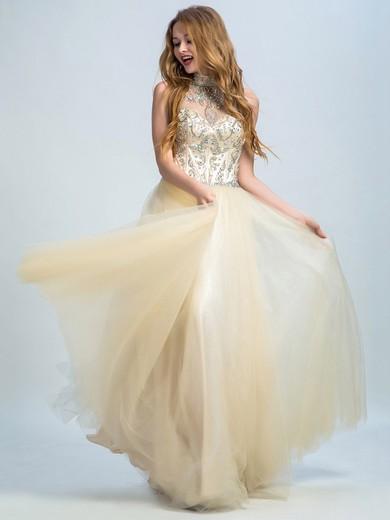 High Neck Tulle Floor-length Crystal Detailing Backless Champagne Prom Dresses #JCD020102299