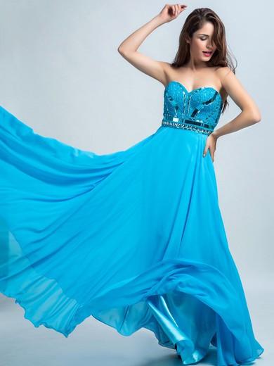 Pretty Blue Chiffon Floor-length Beading Sweetheart Prom Dresses #JCD020102301