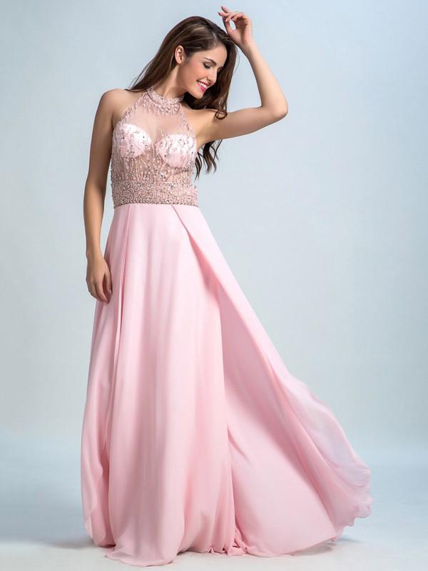 Scoop Neck Pink Chiffon Tulle Beading Open Back Floor-length Prom Dresses #JCD020102305