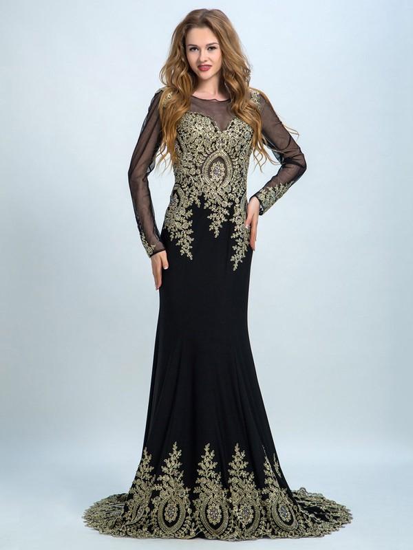 Trumpet/Mermaid Black Chiffon Tulle Long Sleeve Beading Scoop Neck Prom Dresses #JCD020102306