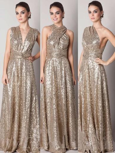 Backless Gold A-line V-neck Sequined Online Bridesmaid Dresses #JCD01012791
