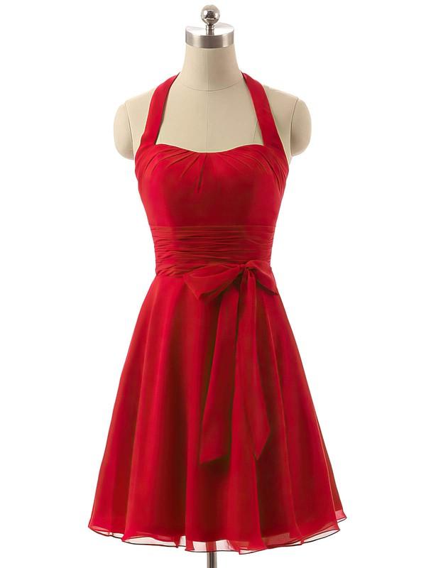 Cheap Short/Mini Chiffon Sashes / Ribbons Red Halter Bridesmaid Dresses #JCD01012792