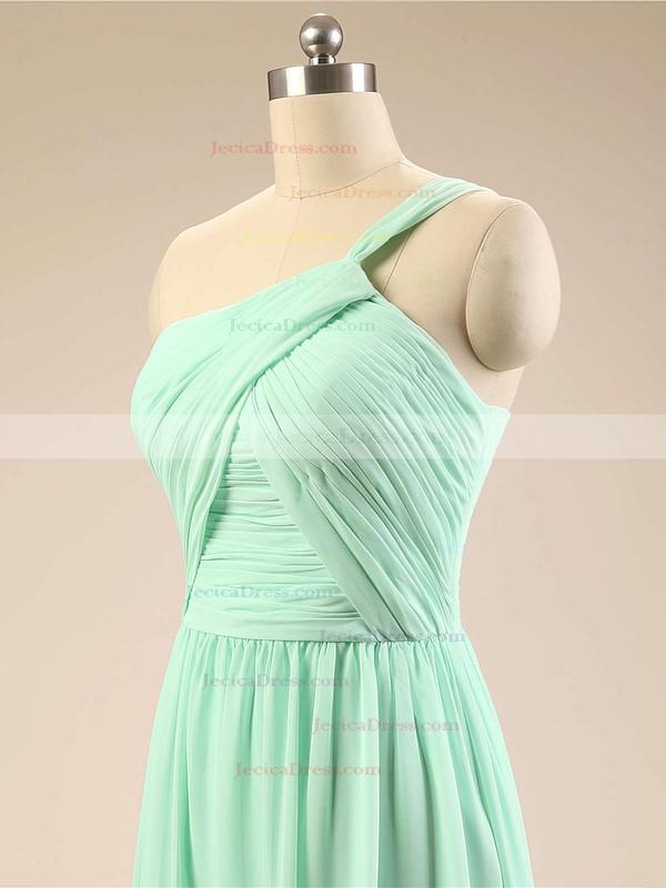 Sage Chiffon Sweep Train Ruffles Designer One Shoulder Bridesmaid Dresses #JCD01012793