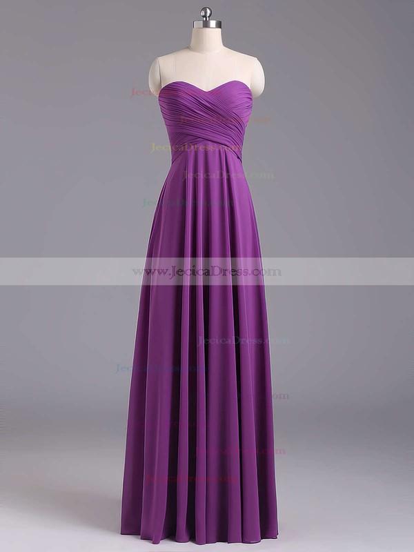 Sweetheart Lavender Chiffon Floor-length Ruffles Best Bridesmaid Dresses #JCD01012796