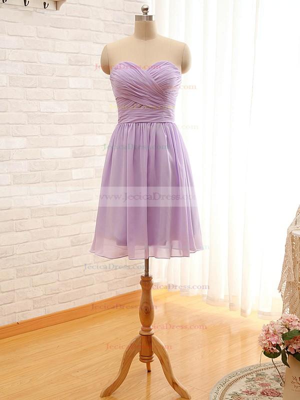 A-line Sweetheart Chiffon Ruffles Sage Short/Mini Bridesmaid Dresses #JCD01012797