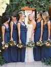 Floor-length V-neck Chiffon with Ruffles Modest Bridesmaid Dresses #JCD01012798