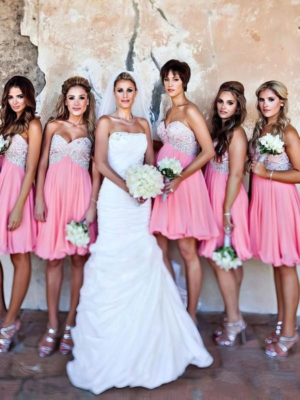 Empire Pink Chiffon Beading Sweetheart Short/Mini Bridesmaid Dresses #JCD01012801