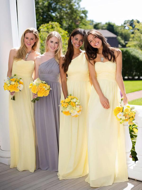 A-line Light Yellow Chiffon Ruffles Classy One Shoulder Bridesmaid Dresses #JCD01012806