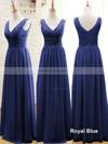 Sage Chiffon Floor-length Ruffles V-neck Promotion Bridesmaid Dresses #JCD01012807