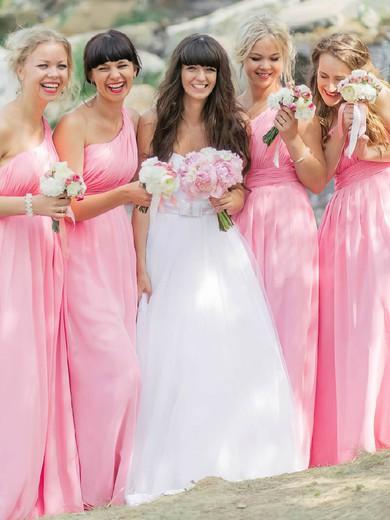 New Pink Chiffon Floor-length Ruffles One Shoulder Bridesmaid Dresses #JCD01012812