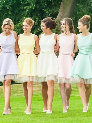 Short/Mini Open Back A-line Satin Tulle Bow Gorgeous Bridesmaid Dresses #JCD01012816