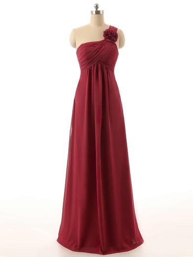 One Shoulder Empire Chiffon Flower(s) Prettiest Burgundy Bridesmaid Dresses #JCD01012820