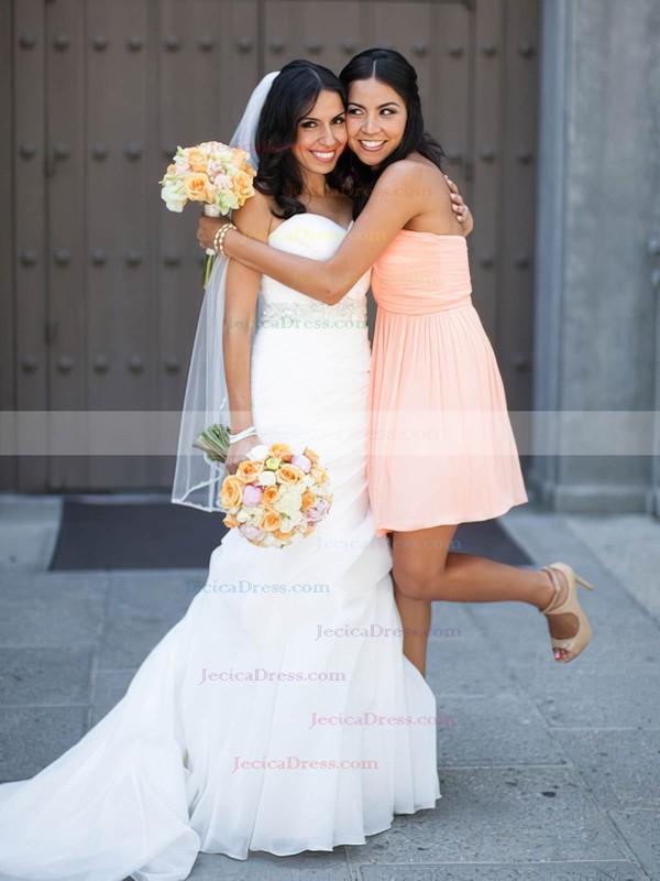 Pink Sweetheart Good Chiffon Ruffles Short/Mini Bridesmaid Dresses #JCD01012821