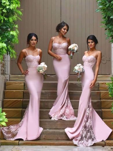 Funky Silk-like Satin Appliques Lace Sweetheart Trumpet/Mermaid Bridesmaid Dresses #JCD01012822