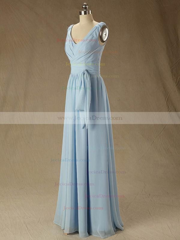 Floor-length V-neck Ruffles Chiffon Junior Bridesmaid Dress #JCD01012827