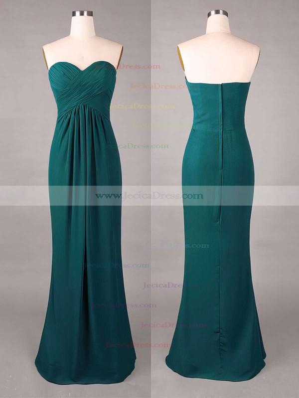 Sweetheart Online Sheath/Column Chiffon Ruffles Dark Green Bridesmaid Dresses #JCD01012859