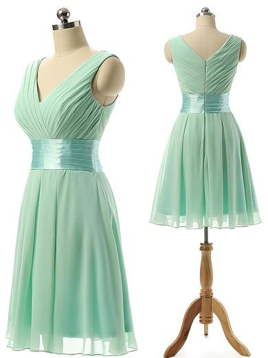 Cheap V-neck Chiffon Sashes / Ribbons Knee-length Bridesmaid Dresses #JCD01012860