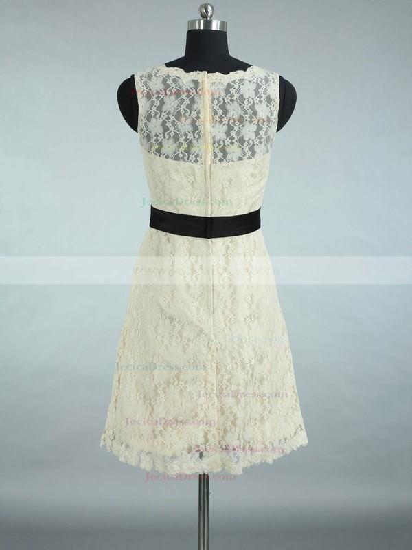 Scalloped Neck Lace Sashes / Ribbons Designer Short/Mini Bridesmaid Dresses #JCD01012861