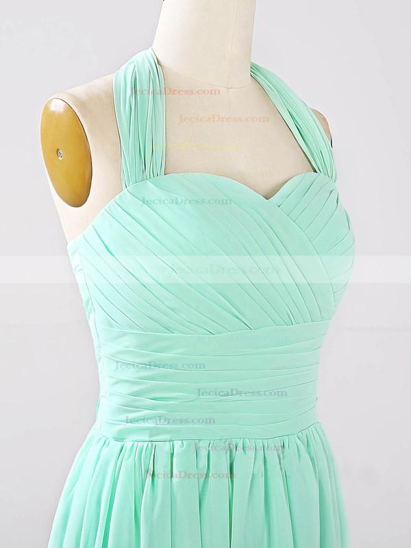 2016 Halter Chiffon Ruched Sage Short/Mini Bridesmaid Dresses #JCD01012862
