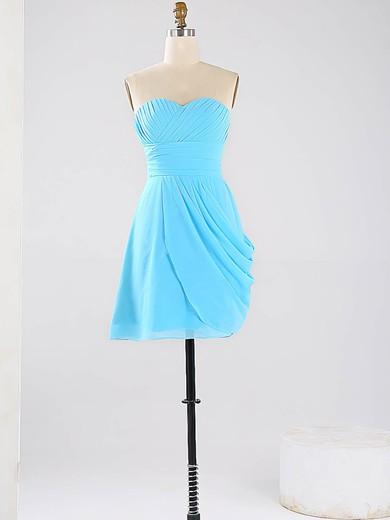 Blue Sweetheart Vintage Chiffon Ruched Short/Mini Bridesmaid Dresses #JCD01012864