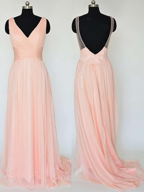 V-neck Pretty Chiffon Ruffles Sweep Train Backless Bridesmaid Dresses #JCD01012867
