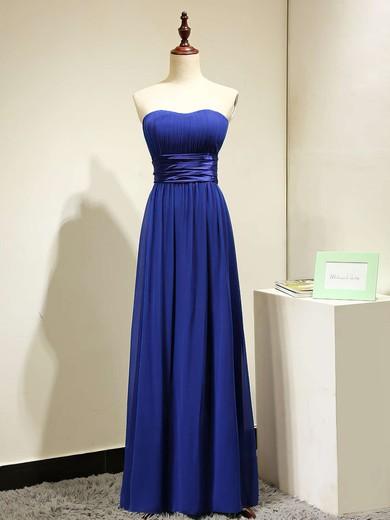 A-line Chiffon Sashes / Ribbons Discounted Royal Blue Strapless Bridesmaid Dresses #JCD01012875