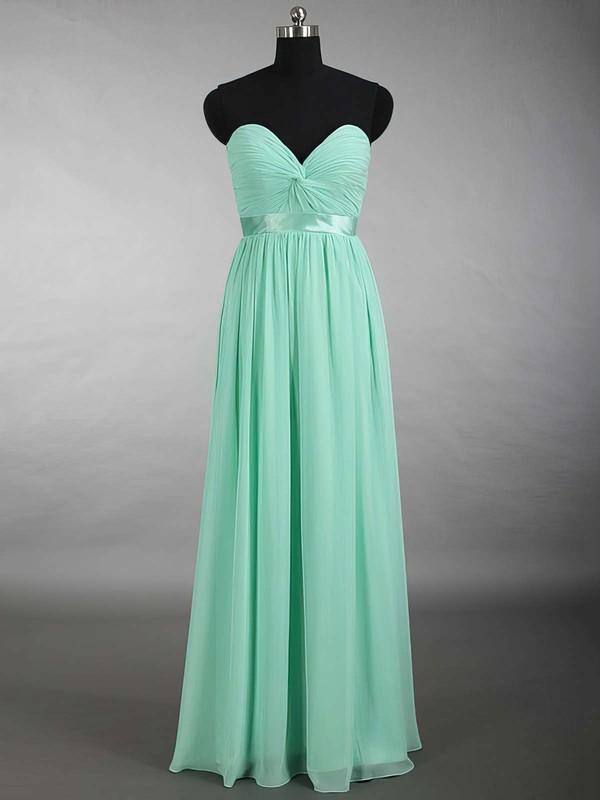 New Sweetheart Chiffon Sashes / Ribbons Floor-length Sage Bridesmaid Dress #JCD01012879