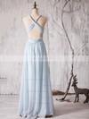 Chiffon Floor-length Ruffles Latest Backless V-neck Bridesmaid Dress #JCD01012880